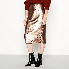 Principles - Dark gold sequin knee length skirt