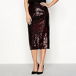 Principles - Red sequin midi skirt