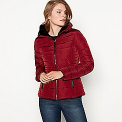 Principles - Wine red faux fur collar quilted puffer jacket
