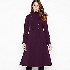 Principles - Purple funnel neck fit 'n' flare coat