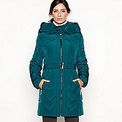 Principles - Dark green double layered chevron padded coat