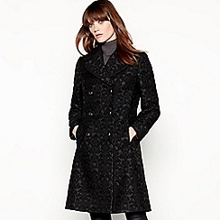 Principles - Black jacquard double-breasted coat