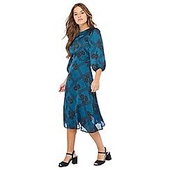 Principles Petite - Dark turquoise floral check print petite dress