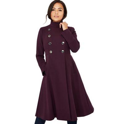 Principles Petite   Dark Purple Fit And Flare Petite Coat by Principles Petite