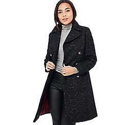 Principles - Black Jacquard Double-Breasted Petite Coat with Wool