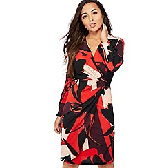 Principles Petite - Dark Red Floral Print Knee Length Petite Dress
