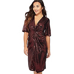 Principles Petite - Dark Red Sequinned Knee Length Petite Dress