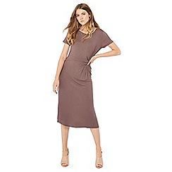 Principles - Brown knot detail jersey midi dress