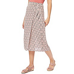 Principles - Multi-coloured geometric print wrap skirt
