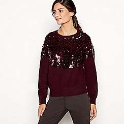 Principles - Dark red sequin shoulder jumper