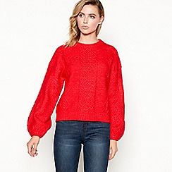 Principles - Red cable knit ballon sleeve jumper