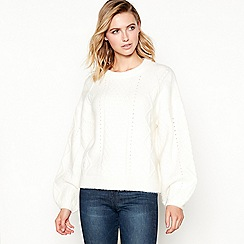 Principles - Ivory cable knit ballon sleeve jumper