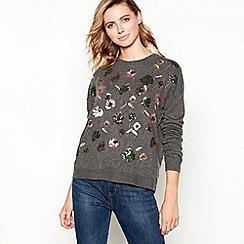 Principles - Grey floral embellished sequin jumper