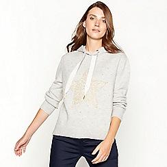 Principles - Pale grey star embellished acrylic blend hoodie