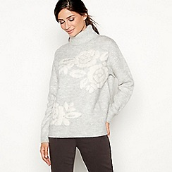 Principles - Grey floral intarsia roll neck jumper