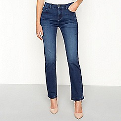 Principles - Mid blue cotton blend denim straight jeans