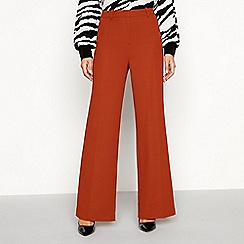 Principles - Dark tan high waisted 'Tobacco' wide leg suit trousers