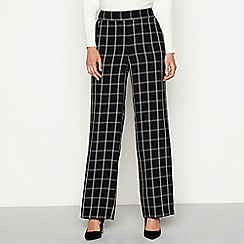 Principles - Black check print wide leg trousers