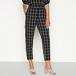 Principles - Black checked print slim leg trousers