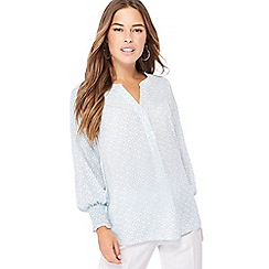 Principles - Pale blue mosaic print notch neck petite shirt