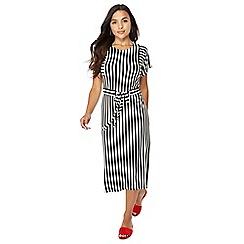 Principles Petite - Black striped petite midi dress