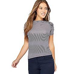 414d1e773a97f1 Principles Petite - Navy stripe print ruched sleeve petite top