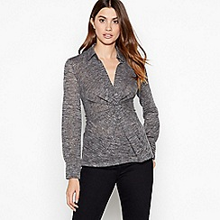 Principles - Grey marl print twist front jersey top