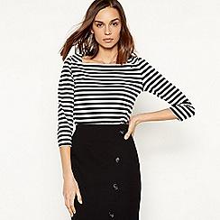 Principles - Black stripe print square neck top
