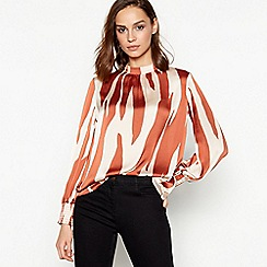 Principles - Tan Zebra Print Shirred Blouse