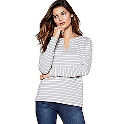 Principles - Grey Striped Notch Neck Top