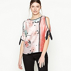 Principles - Light Pink Floral Print Satin Top