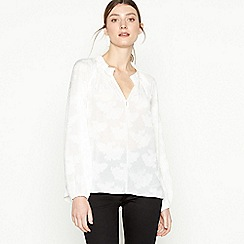 Principles - Ivory Textured Floral Chiffon Blouse