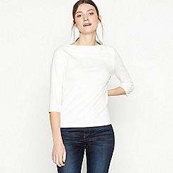 Principles - Ivory Ribbed Jersey Top