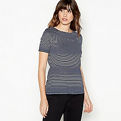 Principles - Navy Striped Ruched T-Shirt
