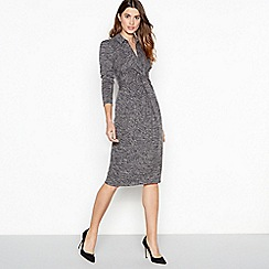 Principles - Grey marl print twist front midi dress