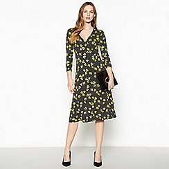 Principles - Navy floral spot print knee length dress