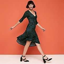 Principles - Green Leopard Print Wrap and Roll Effect Knee Length Dress