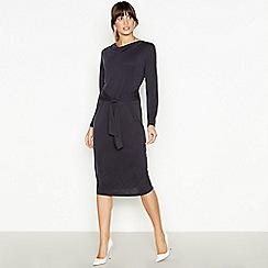Principles - Dark Grey Tie Front Midi Dress