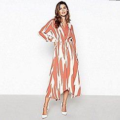 Principles - Tan zebra print hanky hem maxi dress