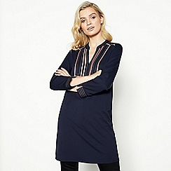 Principles - Navy Contrast Stitch Knee Length Tunic Dress
