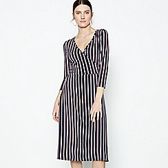 Principles - Navy Stripe Print Knee Length Wrap Dress