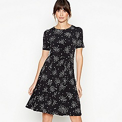 Principles - Black Spot Print Knee Length Skater Dress