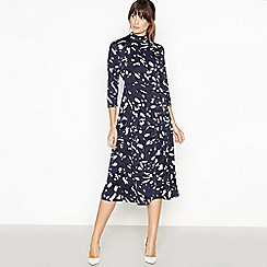 Principles - Navy Leopard Print Midi Dress