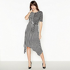 Principles - Black Striped High Low Dress