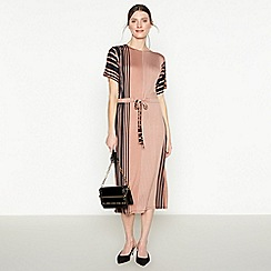Principles - Black Stripe Print Midi Dress