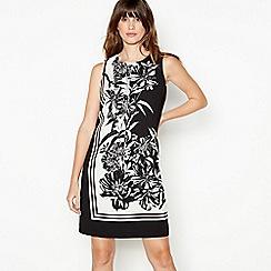 Principles - Black Floral Scarf Print Knee Length Shift Dress