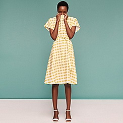 Principles - Yellow Gingham Print Knee Length Dress