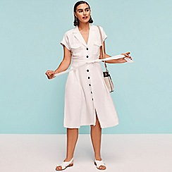 Principles - White Linen Blend Midi Utility Dress