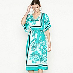 Principles - Bright Turquoise Floral Scarf Print Midi Dress