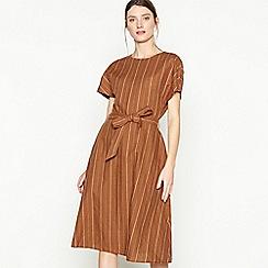 Principles - Tan Stripe Print Linen Blend Knee Length Dress